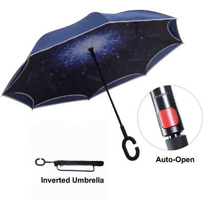 Inverted Umbrella with Light Reflection Strip, Double Layer Car Reverse...