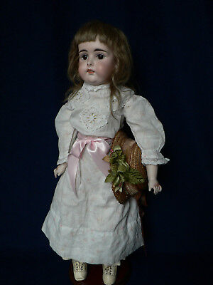 "Antique 19"" Kestner Open-Closed Mouth Bisque Doll Marked 8"
