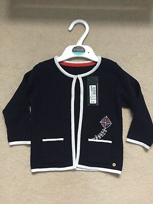 Bnwt M&s Autograph Baby Girls Navy Cardigan Embroided 3-6 Months 100% Cotton