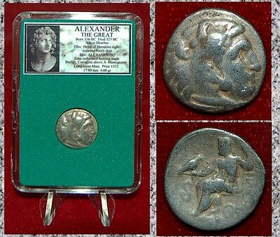 Ancient Greek Coin Of ALEXANDER THE GREAT Herakles Zeus Silver Drachm Lampsacus