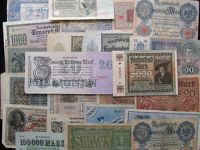 German & Russian banknotes Lot of 28 Antique currency Germany Russia pre-WW2