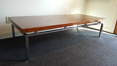 Large Mid Century Modern Walnut Parquet top Coffee Table with Chrome Base