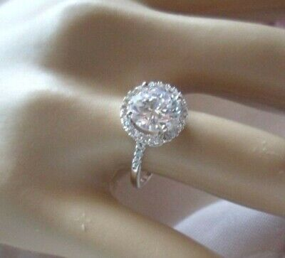 Antique Vintage White Gold Halo Ring with Sapphire White stones size 8 or Q