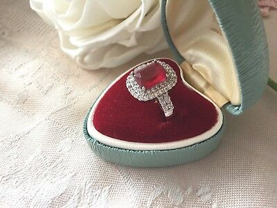 Art Deco Vintage Jewellery Gold Dress Ring Ruby White Sapphires Antique Jewelry