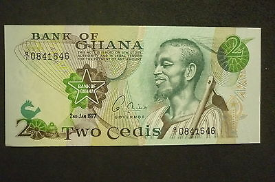 Ghana Two Cedis  Banknote -  1977-  Crisp Uncirculated