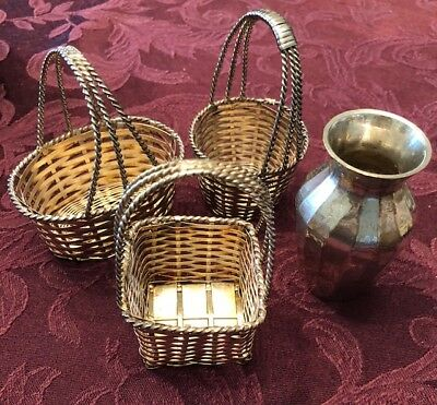 Vintage Silver (3) Baskets and vase