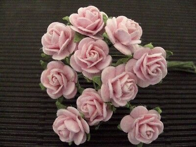 50 x 10mm Mulberry Paper BABY PINK ROSES 121 Wedding crafts Cards Scrapbooking