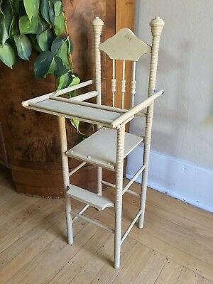 Antique Doll High Chair, Original Paint, Button Turnings, Barrel Finials, Tray