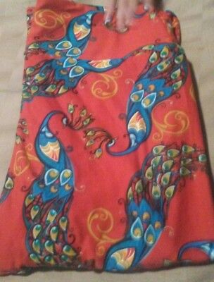 NEW! LulaRoe Os Peacock Leggings HTF Unicorn Peacocks orange Background Rare!