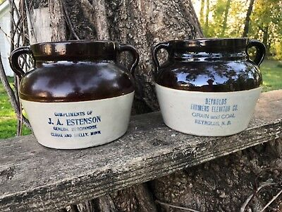 Lot of two Red Wing Bean Pots Climax/Shelly Minnesota and Reynolds, North Dakota