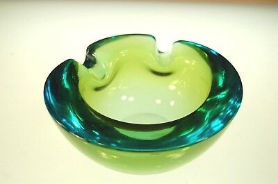 Mid Century VTG Italian Murano Aqua Amber Art Glass Cigar Ashtray Free Ship