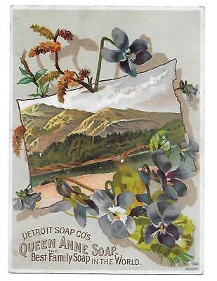 Detroit Soap Co's. Queen Anne Soap Victorian Trade Card Flowers/mountain View
