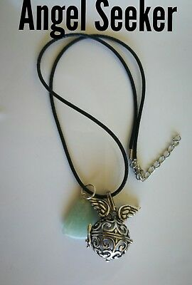Code 801 Aventurine Silver Angel Seeker Baby Caller Musica Ball Infused Necklace