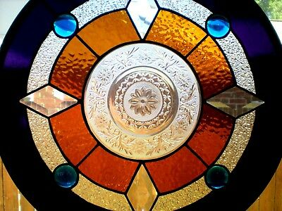 """Stained Glass Window Panel Hanging - Compass Rose - 18"""" diameter"""