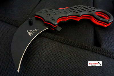 Black/ Red Zombie Tactical Spring Assisted Open Pocket Knife Folding Karambit
