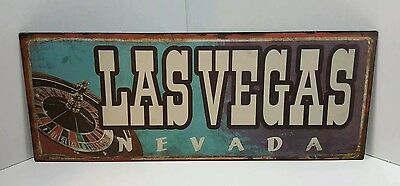 Las Vegas Nevada Swanky Wembley Casino Vintage Metal Tin Sign Roulette Wheel