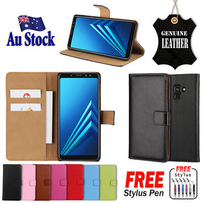For Samsung Galaxy A8 J8 2018 Genuine Original Leather Wallet Flip PU Case Cover