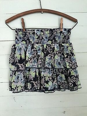 JUSTICE Girls Floral Tiered Skirt Blue Green Girls Size 16