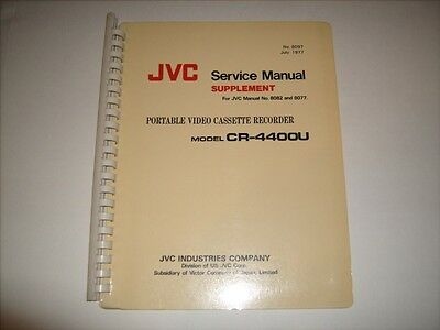 JVC Service Manual #8097 for Portable VCR CR-4400U Mint Condition