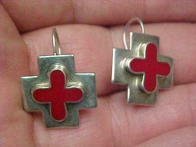 925 Sterling Mexico Red Cross Stones? Pierced Loop Earrings Excellent Condition