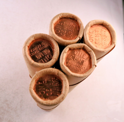 (5) Tails-Tails OBW Sealed Wheat Penny Roll Lot // Gem BU - RED // 5 Rolls