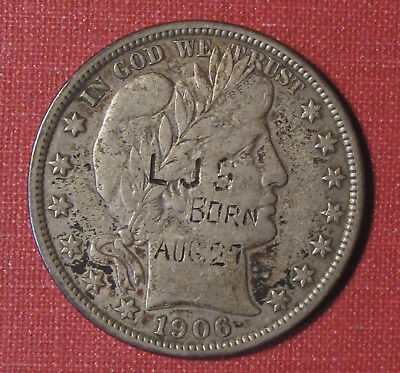 """1906 Barber Half - August 27 """"birthday Coin"""" Hand Etched High Grade Piece!"""