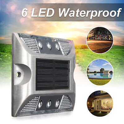 6 LED Solar Power Light Garden Ground Road Path Driveway Deck Stair Lamp Outdoor