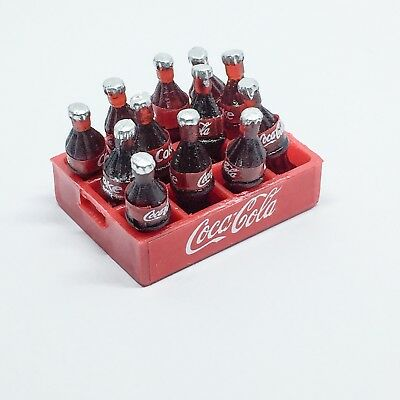12 Coca Cola Coke Bottles in Crate Miniature 1:12 Dollhouse Dink Toy Gift Decor