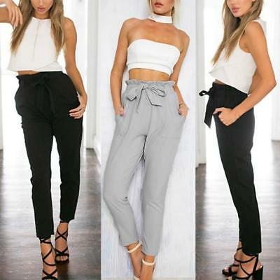Women Elastic High Waist Pants Casual Harem Cropped Length OL Trousers B