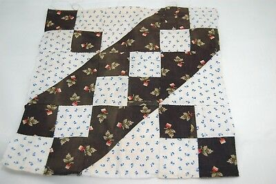 1 Antique 1890 Quilt Block Jacobs Ladder Madder Brown Shirting