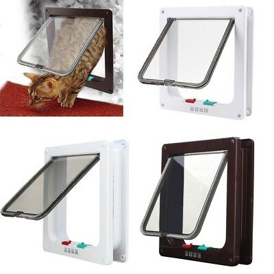 4 way Pet door Locking Small Large Dog And Cat Flap Magnetic Door Frame UK