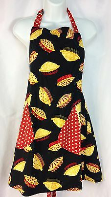 Bib Apron Red Polka Dots Back Ties Pockets Adjustable Thanksgiving
