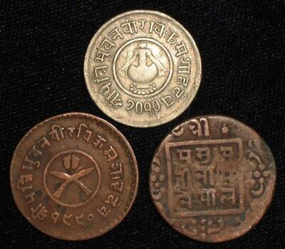 3 Old Coins from Nepal.   No Reserve!!