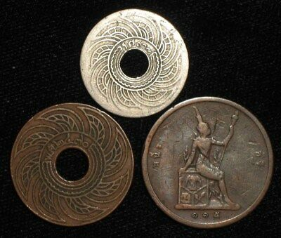 3 Old Coins from Thailand.   No Reserve!!