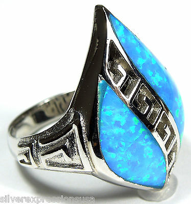 Unique Blue Fire Opal Inlay Solid 925 Sterling Silver Ring size 6, 8