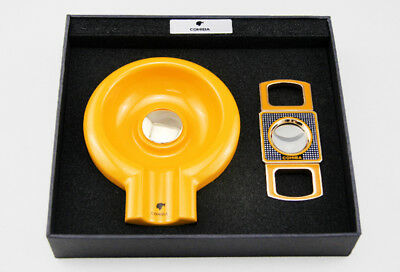 COHIBA Classic Yellow Metal Big Ashtray With Cutter Set