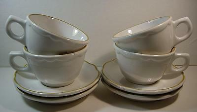 Vintage Buffalo China Set of 4 Coffee Cups and Saucers w/ Mustard/Gold Trim