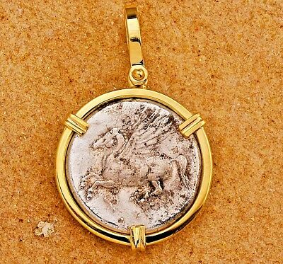 Beautiful 18kt Gold Pendant Authentic Ancient Greece Pegasus Coin 350-306 B.C.