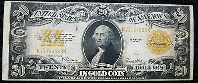 DH Fr 1187 $20 1922 Gold Certificate VF