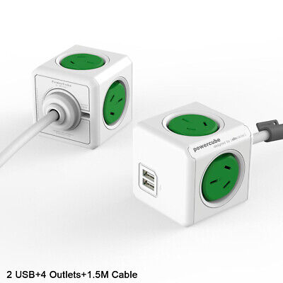 Allocacoc PowerCube 4 Outlets + 2 USB Outputs + 1.5M Cable with Surge AU Green