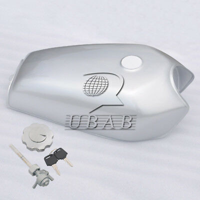 Silver 9L 2.4 Gallon Cafe Racer Vintage Fuel Gas Tank &Tap For Honda CG125 AA001