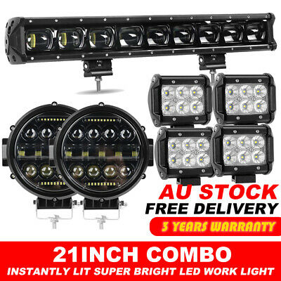 "Offroad 52"" 3600W Curved LED Light Bar+20"" Combo+2x 4inch Pods Driving Truck SUV"