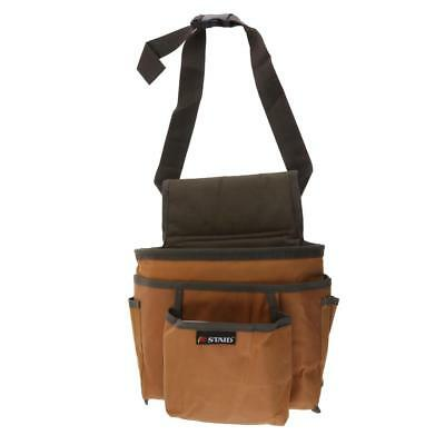 Brown Cloth Tool Bag for Roofer Maintenance Workers Construction Haversack