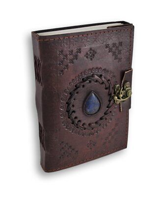 Leather Journal Embossed Blue Stone Vintage Diary Unlined Blank Book with Clasp