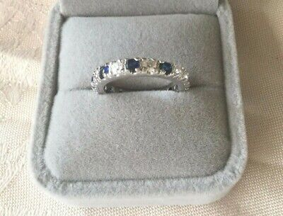Vintage Jewellery Gold Dress Ring Sapphire Blue White Stones Antique Jewelry