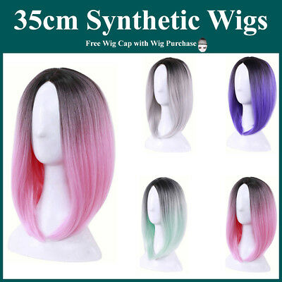 Short Bob Straight Dark Roots Synthetic Full Wigs Cosplay Lolita Colour Blend