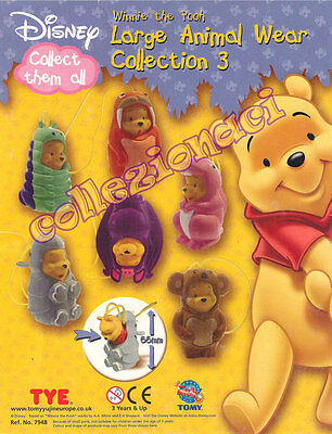 Disney Winnie The  Pooh Large Animal Wear Collection 3 TOMY 6 PEZZI