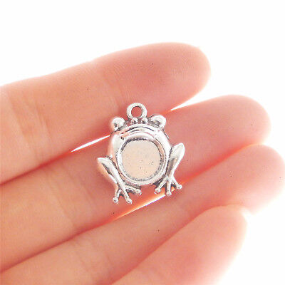 50pc Tibetan Silver Charm Pendant  3D Frog Jewellery Accessores Crafts  JW1329