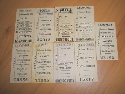 Victorian Railway Tickets Various Suburban Issues 1960'S/1970'S x 9.