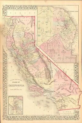 1874 Antique Map - Usa - California With Plan Of San Francisco